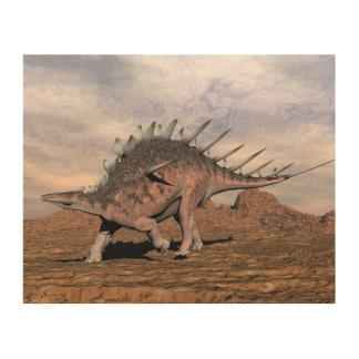 Tela De Madeira Dinossauro do Kentrosaurus no deserto - 3D rendem