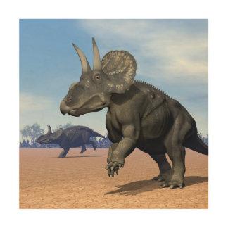 Tela De Madeira Dinossauros de Diceratops/nedoceratops no deserto