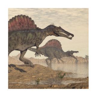 Tela De Madeira Dinossauros de Spinosaurus no deserto - 3D rendem