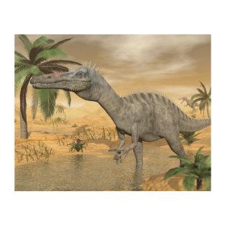 Tela De Madeira Dinossauros de Suchomimus no deserto - 3D rendem