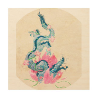 Tela De Madeira Dragão Lotus, arte de madeira da parede