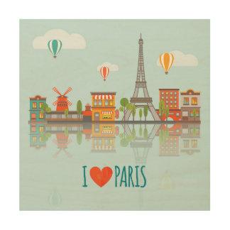 Tela De Madeira Eu amo o design da arquitectura da cidade de Paris