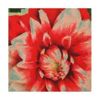Tela De Madeira Flor vermelha grande
