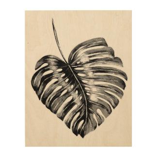 Tela De Madeira Folha tropical da folha preto e branco do monstera
