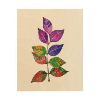 Tela De Madeira Folhas do arco-íris da aguarela