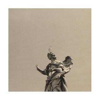 Tela De Madeira Foto simples, moderna da gaivota sobre a estátua