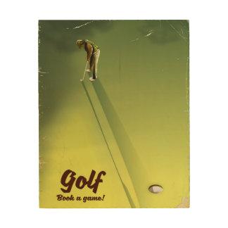 """Tela De Madeira Golfe """"livro poster vintage de um jogo"""""""