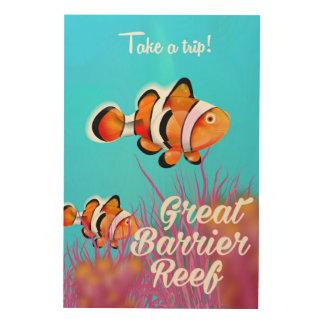 Tela De Madeira Grande poster dos desenhos animados dos peixes do