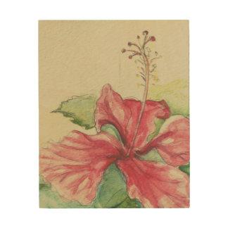 Tela De Madeira Hibiscus II