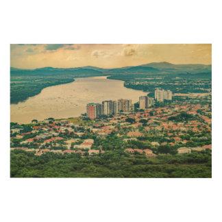 Tela De Madeira Ideia aérea do subúrbio de Guayaquil do plano