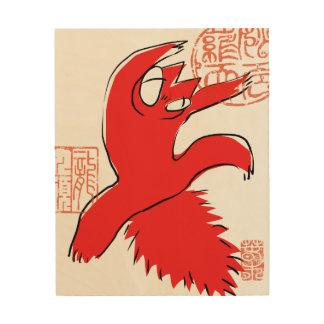 Tela De Madeira Ilustração engraçada cómico do asiático do gato da