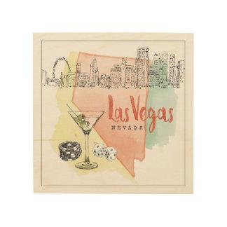 Tela De Madeira Imagem do esboço da aguarela de Las Vegas, Nevada
