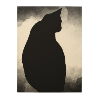 Tela De Madeira Impressão de madeira 18x24 da silhueta do gato