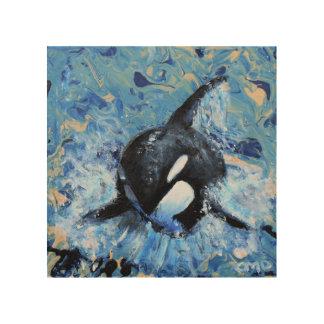 Tela De Madeira Impressão de madeira da orca