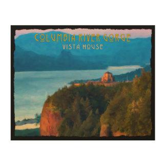 Tela De Madeira Impressão retro do desfiladeiro do Rio Columbia e