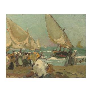 Tela De Madeira Joaquin Sorolla - barcos na praia de Valência