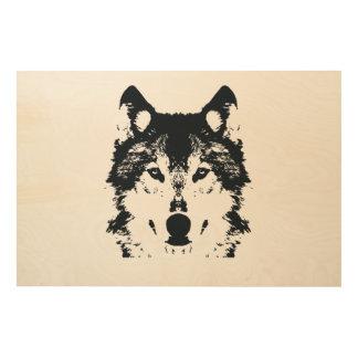 Tela De Madeira Lobo preto da ilustração