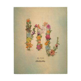 Tela De Madeira Monograma floral M, nome feito sob encomenda,