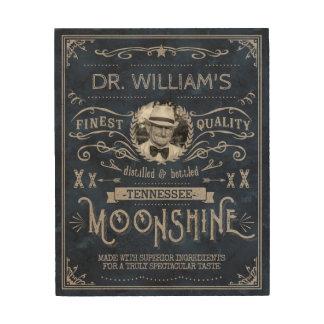 Tela De Madeira Moonshine o azul feito sob encomenda do vintage da