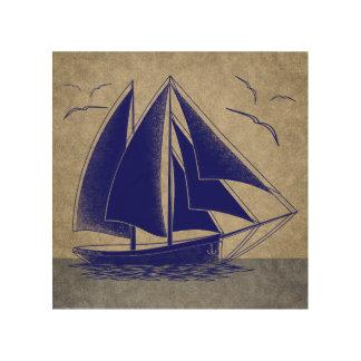 Tela De Madeira Navigação rápida, vintage náutico rústico