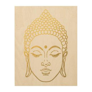 Tela De Madeira O Buddha dourado da arte de madeira da parede do
