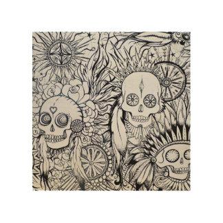 Tela De Madeira o esqueleto indiano nativo do crânio do tatuagem