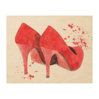 Tela De Madeira O vermelho calça a forma do encanto na moda