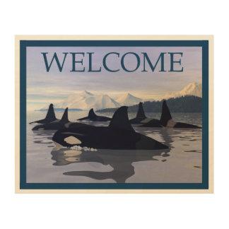 Tela De Madeira Orca brilhante da água - boa vinda