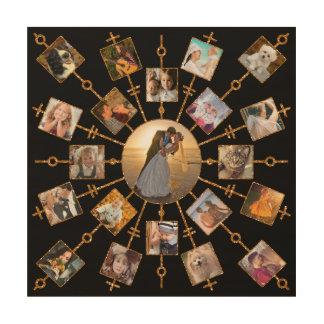 Tela De Madeira Ouro preto bonito das imagens da colagem 21 da
