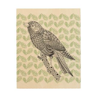 Tela De Madeira Pássaro do Doodle
