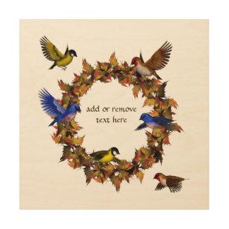 Tela De Madeira Pássaros do outono