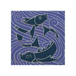 Tela De Madeira Peixes que nadam o azul corajoso