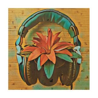 Tela De Madeira Planta retro que veste fones de ouvido