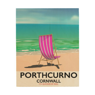 Tela De Madeira Poster de viagens da praia de Porthcurno Cornualha
