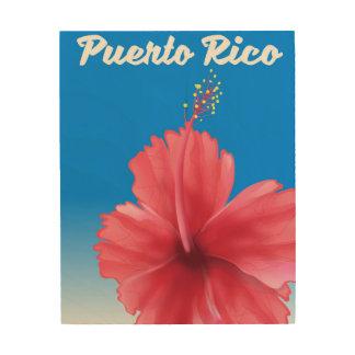 Tela De Madeira Poster de viagens de Puerto Rico Flor de maga