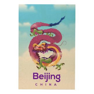Tela De Madeira Poster de viagens do dragão de Beijing China