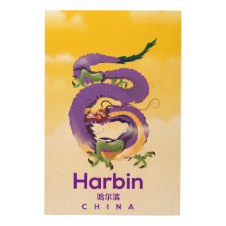 Tela De Madeira Poster de viagens do dragão de Harbin China