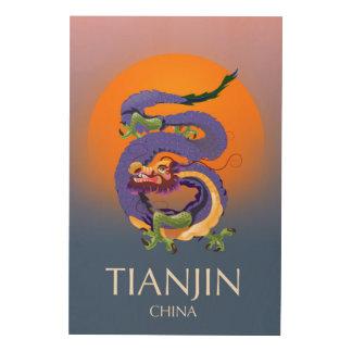 Tela De Madeira Poster de viagens do dragão de Tianjin China