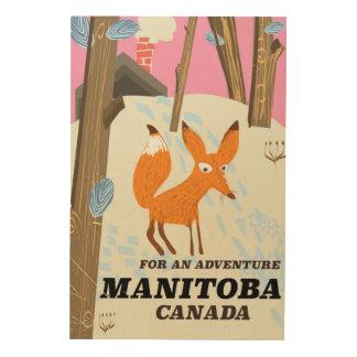 Tela De Madeira Poster de viagens do estilo do vintage de Manitoba