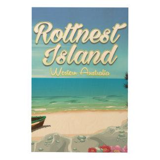 Tela De Madeira Poster de viagens do oceano de Austrália da ilha