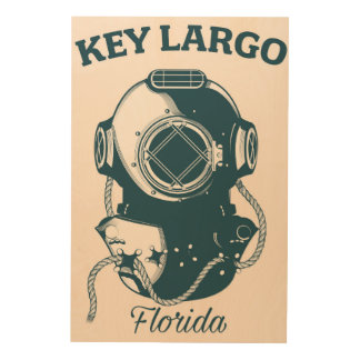 Tela De Madeira Poster de viagens náutico do mergulho de Florida