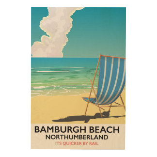 Tela De Madeira Poster do trem de Northumberland da praia de