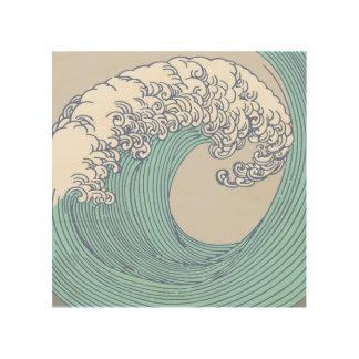 Tela De Madeira Praia asiática japonesa do oceano do impressão da