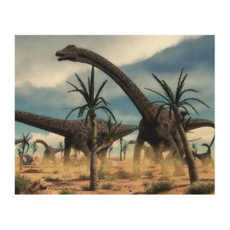 Tela De Madeira Rebanho dos dinossauros do Diplodocus no deserto