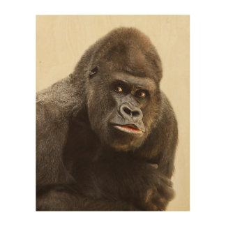 Tela De Madeira Retrato do gorila do Silverback