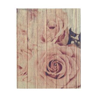 Tela De Madeira Rosas cor-de-rosa obscuros do chique do vintage na