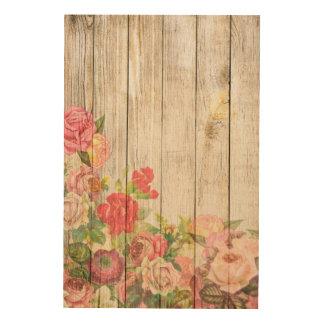Tela De Madeira Rosas românticos rústicos do vintage de madeira