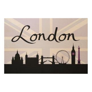 Tela De Madeira Roteiro & locais de Londres no roxo do céu de
