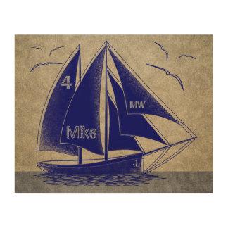 Tela De Madeira Rústico náutico dos azuis marinhos da navigação