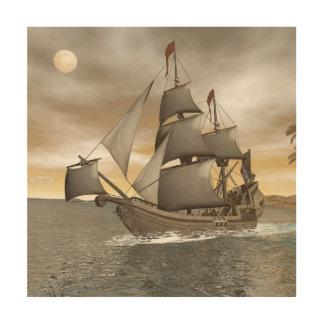 Tela De Madeira Sair do navio de pirata - 3D rendem